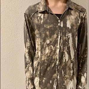 Bleached cable &gauge thin long sleeve button down